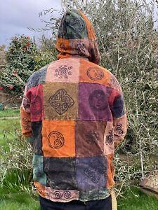 Hippy Vintage Patchwork Cotton Fleece handmade nepal hoodie Mix design Heavy BTC