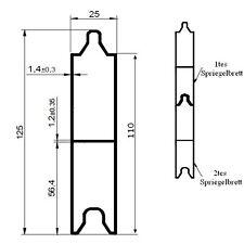 Alu V Spriegelbrett 125x25mm 230cm 2,3m (11€/m) Verstärkung Bordwand Rungenbrett