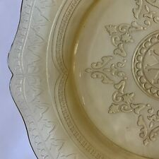 """Yellow Depression Glass Etched 11"""" diameter plate"""
