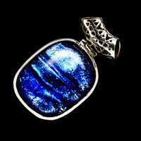 """Dichroic Glass 925 Sterling Silver Pendant 1 1/2"""" Ana Co Jewelry P715976F"""