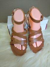 Isaac Mizrahi Live Strappy Sandals Size 8.5 M Medium Brown Leather Gladiator