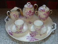 ANTIQUE 19TH CENTURY TEA FOR TWO BONE CHINA TEA SET WITH TRAY FLORAL PATTERN VGC