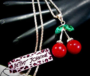 """FUN BETSEY JOHNSON RETRO RED CHERRY GREEN CRYSTAL LEAVES 27"""" L NECKLACE JA6"""