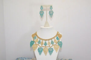 JTV Off Park Simulated Turquoise/Gold Tone Statement Necklace w/Earrings NIB