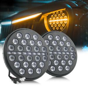 MICTUNING 80W LED Headlight DRL Daytime Running Light High Low Beam 7 Inch 2pcs