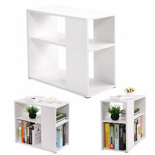 Chair Side Table White Wooden End Shelf Living Room Furniture Book Shelf