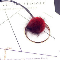 Cute Fashion Fur Ball Long Leather Sweater Chain Pendant Necklace Winter Jewelry