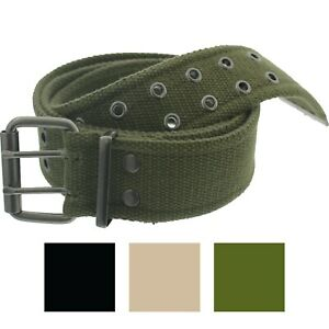 """Military Double Prong Canvas Belt, Heavy Duty Army Pistol Grommet Two Hole 1.75"""""""