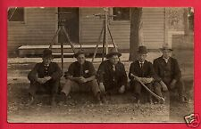 RPPC 5 MEN ENGINEERS WITH TRIPODS  SURVEYING TOOLS AX IN FRONT OF HOUSE