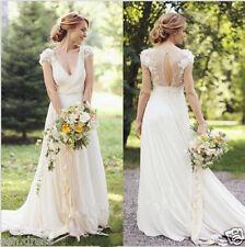 Chiffon ball gownduchess short sleeve wedding dresses ebay bohemian short sleeve wedding gown whiteivory lace chiffon bridal dress custom junglespirit Images