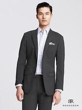 $415 BANANA REPUBLIC MONOGRAM Suit Jacket Blazer  Sz 38R  Gray Slim Fit Striped