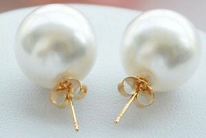 Stunning Big 12mm Round White South Sea Shell Pearls Gold Stud Earrings