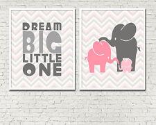 8 x 10in Cute Set of 2 DREAM BIG ELEPHANT pink grey girl nursery wall art print