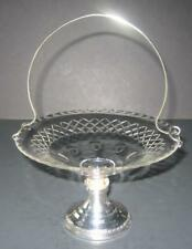 Antique Compote/basket Crystal & Weighted Sterling Silver with handle Dish Tray