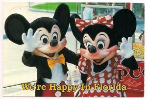 Continental Postcard FL Disney Amusement Park Mickey Minnie Mouse Happy Florida