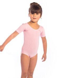 Pink Short Sleeved Cotton Ballet Dance Leotard Toddler Baby Ballet. AGE 2 - 12