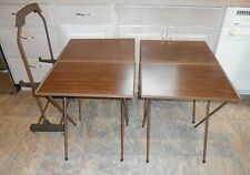 4 VTG Folding TV TRAY TABLES, ROLLING STAND Wood Grain Snack Set Mid Century Mod