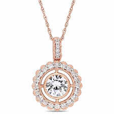 Amour 10k Rose Gold Created White Sapphire Floating Floral Halo Necklace