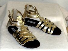 NEW Olsenboye Gold Gladiator Sandals--size 7.5 M--Sexy rear zipper!--NICE!