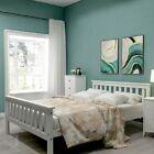 Massivholzbett Weiß Doppelbett Ehebett mit Kopfteil und Lattenrost 140 x 200 cm günstig