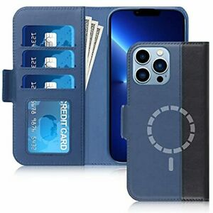 New iPhone 13 Pro Max Case Genuine Leather Magnetic Flip Wallet Protective Cover