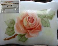 Vintage Hand Painted Footed Trinket Box Rose Artist Signed