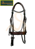 RUMANI Horse Leather BRIDLE & ANTISLIP REINS Diamante Browband - Cherry Colour