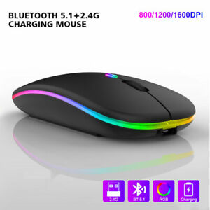 Bluetooth + 2.4GHz Wireless Mouse Rechargeable RGB Cordless Mice For PC Laptop