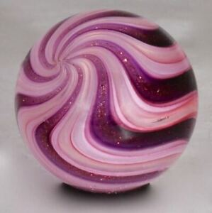 "Wald glass hand made marble aventurine Lutz uranium contemporary sphere .91"""