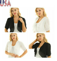 US Womens Ladies Sheer Lace Chiffon Shrug Bolero Cardigan Tops Shawl Coat Jacket