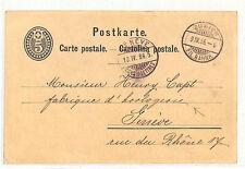 SWITZERLAND WATCHMAKER Zurich Station CDS 1886 Card *Horlogerie* Geneva DD244