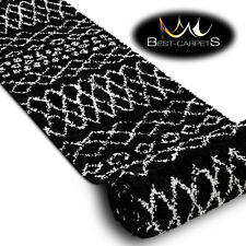 "Amazing shaggy Runner ""BERBER"" black Ethnic oriental Width 70-100 cm long Stairs"