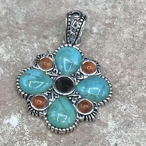 Barse Majestic Pendant- Mixed Stones- Silver Overlay- NWT