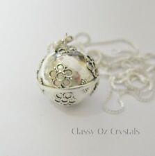 Large 925 Sterling Silver Flower Harmony Ball Necklace ~ Sterling Silver Chain