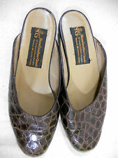 Siam Leather Goods Slip Ons Sandals Shoes Croc Embossed Thailand sz 8