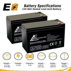 2 packs of 12V 8AH SLA Replacement Battery for Razor MX350 MX400 Dirt Bike