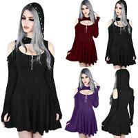 Gothic Punk Lolita Women Hooded Cut Cold Shoulder Long Sleeve Pleated Mini Dress