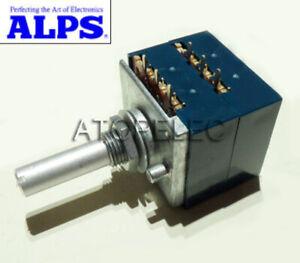 Japan ALPS RK27 Logarithmic Stereo Volume Potentiometer Dual Unit Slotted Shaft