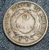 1865 Two Cent Piece 2C Ungraded Choice Civil War Date Good US Copper Coin CC5555