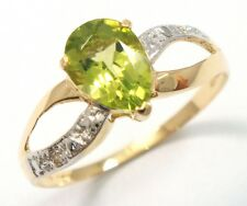 SYJEWELRYEMPIRE 10KT YELLOW GOLD PEAR PERIDOT & DIAMOND RING SIZE 7   R1145