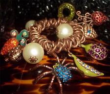 Betsey Johnson RARE Bracelet SPIDER Picnic GARDEN Carrot STRAWBERRY Pearl CHARM