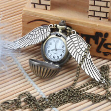 New Harry Potter Pocket Bronze Watch With Wings Necklace Golden Snitch