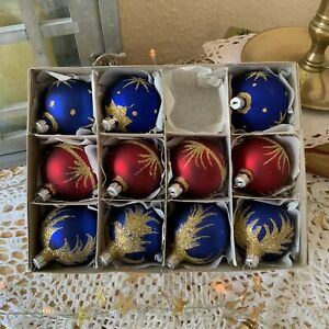 Set of 11 Vintage Glass Christmas Tree Baubles Ornaments Red Blue Gold Glitter