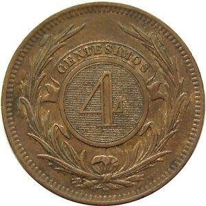 c633 URUGUAY 4 CENTESIMOS 1869 KM#13 BRONZE COIN aUNC