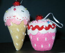 set 2 Cupcake & Ice Cream Cone Christmas ornaments decorated knitted pink felt
