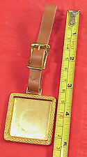 Vintage Brass Luggage Tag or Watch Fob Key Chain with Recess 4  Photo or Art