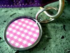 Pink Gingham Designer Pet Id Tags Dog Cat Tag