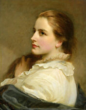 Art Oil painting beautiful young girl portrait with long hair free shipping cost