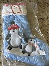 Pottery Barn Kids Classic Blue Penguin Christmas Stocking New Fast Ship!