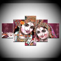 Indian God Lord Radha Krishna Poster 5 Panel Canvas Print Wall Art Home Decor